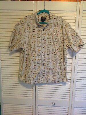 af4156f1 Woolrich Mens XL Birch Freshwater Fish Print Button Down Shirt Short Sleeve  (R2F