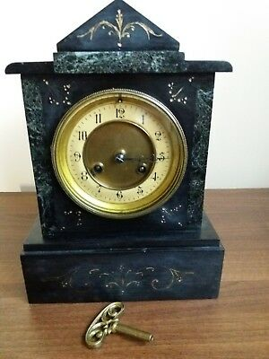 Antique Victorian Slate and Marble Cased Mantle Clock. Grand and Very Heavy.