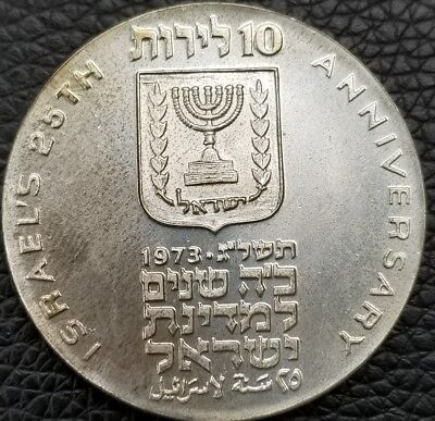 1973 Israel 10 Lirot Silver BU 25th Anniversary Commem Coin with Holder [RL1008]