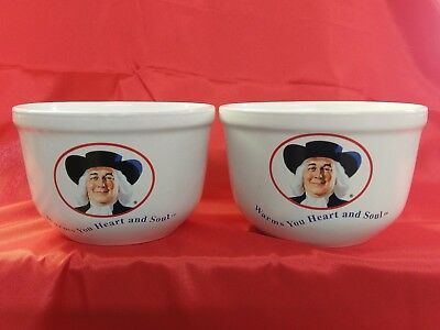 """QUAKER OATS Oatmeal Bowl 1999 """"Warms You Heart and Soul"""" Set of 2 White Bowls"""
