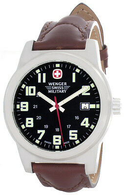 Wenger Men's Black Dial Brown Leather Strap Watch 72900