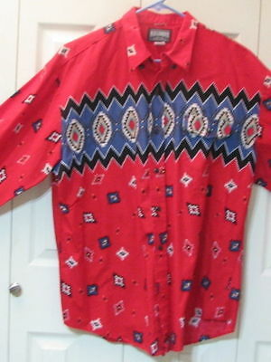 771 Roughrider Red with Southwest Print Western Shirt, XL