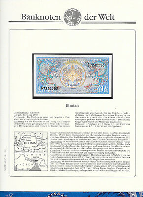Banknotes of World Bhutan 1986 1 Ngultrum P12a.2 GEM UNC Prefix A/1