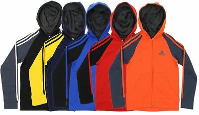 Adidas Youth Full-Zip Three Stripe Hoodie, Color Options