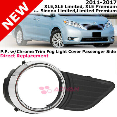 Front Bumper Fog Light Cover 11-17 Toyota Sienna Base XLE Limited Premium Right