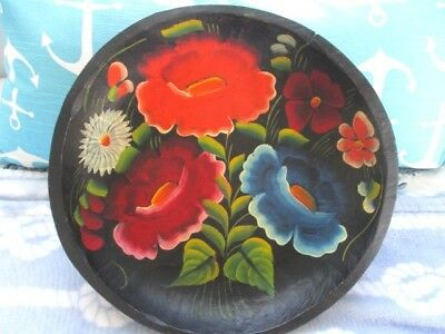 Handsome Old Hand Painted Wood Folk Art Floral Mexican Batea Tole Tray Bowl