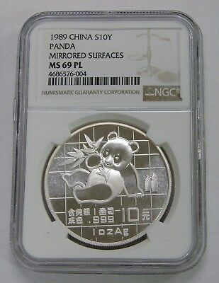 China - 1989 - Silver 10 Yuan Panda - Mirrored Surfaces - NGC MS 69 PL Prooflike