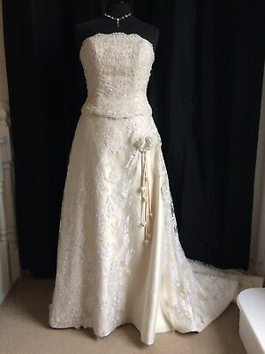 Charlotte Balbier Champagne Lace & Satin Strapless Wedding Dress UK14-16 £1300