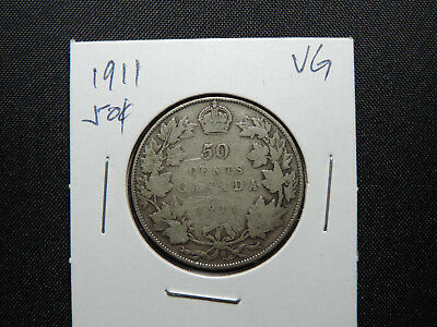 1911 50 Cent Coin Canada King George V Fifty Cents .925 Silver VG Condition