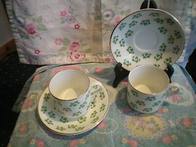 Shamrock Print  Cups & Saucers Pair By Arklow  Gold Gilding Vgc St Patricks Day