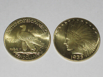 1933 $10 Dollar Indian Head Gold Eagle Coin Münze  United States of America