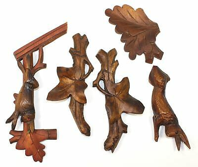 Lot Of Vintage Cuckoo Clock Parts - Rabbits, Case Oak Leaf And Ivy Leaves Kc468