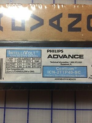 Advance Philips Icn-2Ttp40-Sc Centium Ballast 1-2 Lamp Ft40 40W Cfl 120/277V New