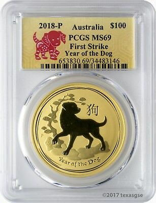 2018-P $100 Australia Year of the Dog 1 oz. Gold Coin PCGS MS69 First Strike
