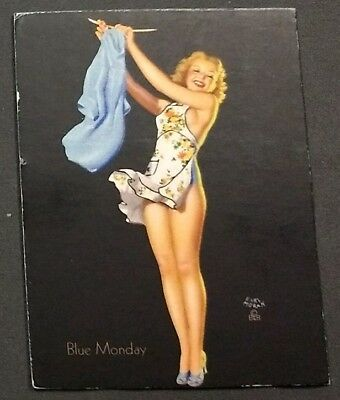 VINTAGE EARL MORAN 1940-1950's PIN-UP/CHEESECAKE ART INK BLOTTER WITHOUT AD