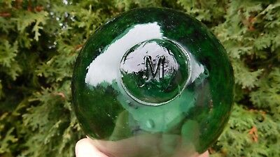 Vintage Genuine Norwegian Teal Green Glass Float Marked Seal Button   M   Norway