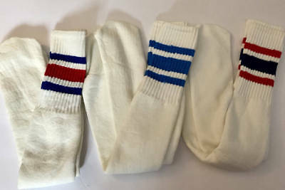 Deadstock VINTAGE TUBE SOCKS, RED/BLUE Basketball 70's 3 STRiPES Out of Package
