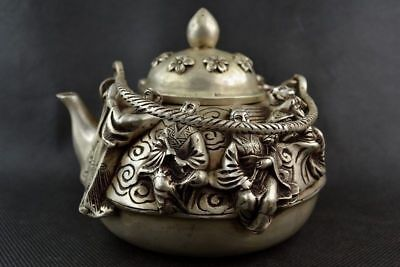 Collectible Old Decorate Handwork Tibet Silver Carving Famous 8 Immortal Tea Pot