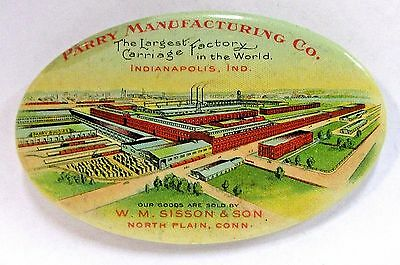 c. 1900 PARRY MANUFACTURING CO. Carriage Maker factory celluloid pocket mirror *