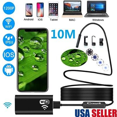 10M Wireless WiFi Endoscope Waterproof Borescope Inspection HD Camera For IOS US