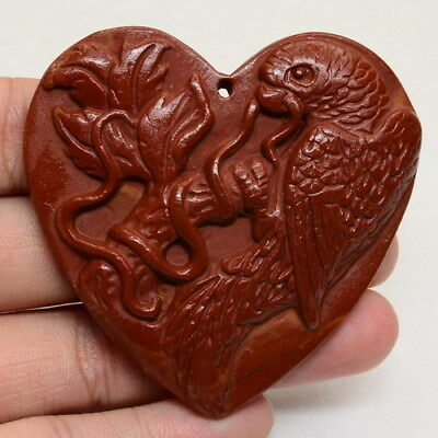 Carved Parrot Natural Red Malachite Gemstone Pendant Bead 59X58X8Mm