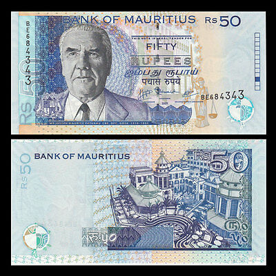Mauritius 50 Rupees 2013 year Polymer BrandNew Banknotes