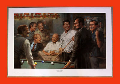 CALLIN' THE BLUE 24x36 Canvas AP Andy Thomas (Republican Pres. Playing Pool)