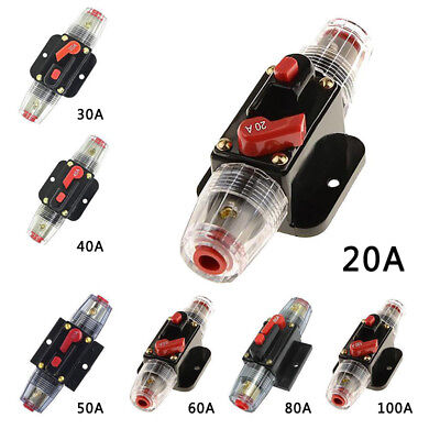20-100A 12V Car Audio Solar Energy Inline Circuit Breaker Fuse Holder Multi Size