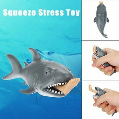Creative Funny Toy Squeeze Stress Ball Alternative Humorous Shark Eat Human E2N7