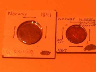 2 Lot Group Pair Scarce Rare Norway Coins 1841 1/2 Skilling & 1867 1/2 Shilling