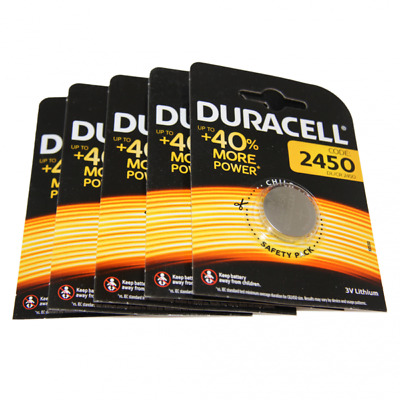 5x Duracell CR2450 3V Lithium Button Battery Coin Cell DL/CR/ECR 2450 Exp. 2026
