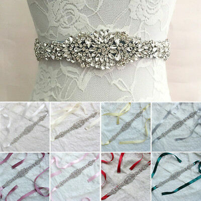 Bridal Sash Rhinestone Waist Belt Satin Ribbon Wedding Party Dress Accessories