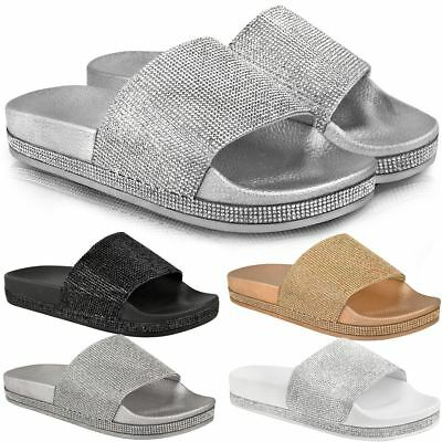 c55af7f8a Womens Ladies Flat Slides Sandals Diamante Sparkly Sliders Slippers Shoes  Size