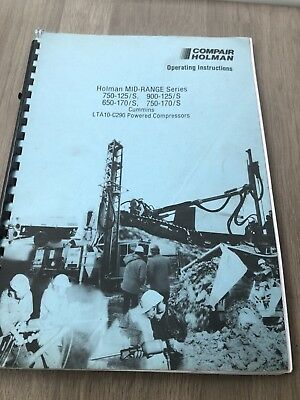 Compair Holman 750-125 900-125 750-170 Portable Air Compressor Operators Manual