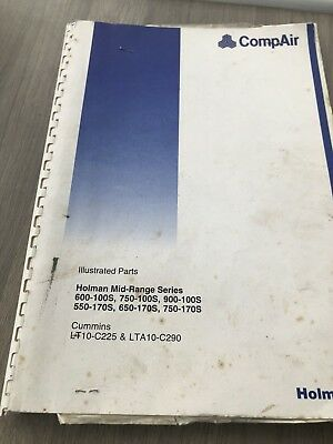 Compair Holman 750-100 900-100 750-170 Portable Air Compressor Operators Manual