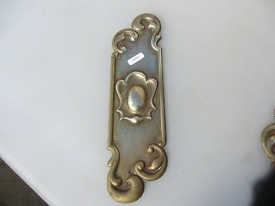 Antique Brass Finger Plate Push Door Handle Vintage Rococo Baroque Nouveau Old