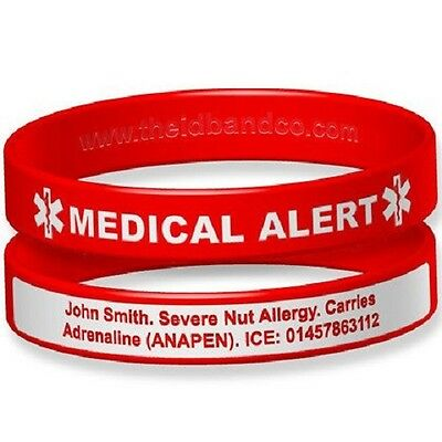 Medical Alert Engraveable Silicone ID Wristband
