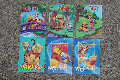 lot de 6 carte postale disney  winnie pooh l'ourson party