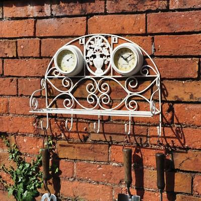 Antique Four Seasons Vintage Garden Clock Thermometer Steel Shelf Five Hooks
