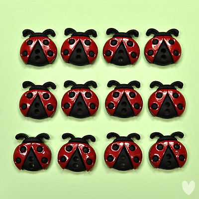 Dress it Up Buttons Sew Cute Ladybugs 6940 - Lady Birds Ladybird Insects Novelty