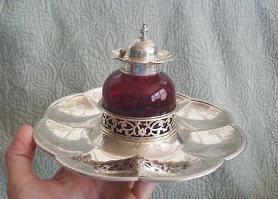 Fine Antique Stuart Clifford Sterling silver pigeon blood glass inkwell English