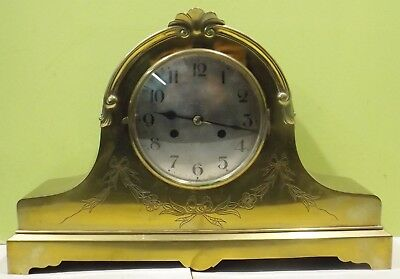 Beautiful Brass Fireplace/Table Clock with Pendulum and Key - Restoration Object