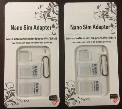 2 Nano to Micro/Standard SIM Card Adapter Converter for Samsung /iPhone White