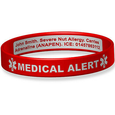 Medical Alert Engraveable Silicone ID Wristband - Inside of Band Engraved