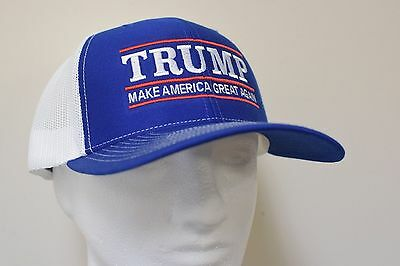 MAKE AMERICA GREAT AGAIN -Donald Trump Hat Republican 2020- Royal White Mesh Cap