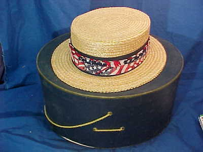 1920s BROOKS BROTHERS Mans Boater STRAW PANAMA HAT w Orig BOX 7 1/4