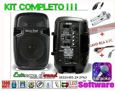 IMPIANTO 2 CASSE x KARAOKE 1300W BLUETOOTH 2 MICROFONI CAVO PC SOFTWARE D8-KIT-1