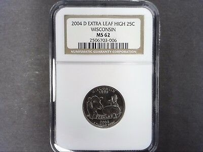 2004 D Ngc Ms62 Wisconsin - Extra Leaf High - State Quarter