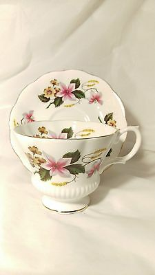 Royal Albert Cup and Saucer Set with Pink And Yellow Flowers - Green Leaves