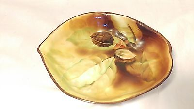 Antique Hand Painted RARE Nippon Walnut & Leaf Textured Tri Footed Bowl or Dish